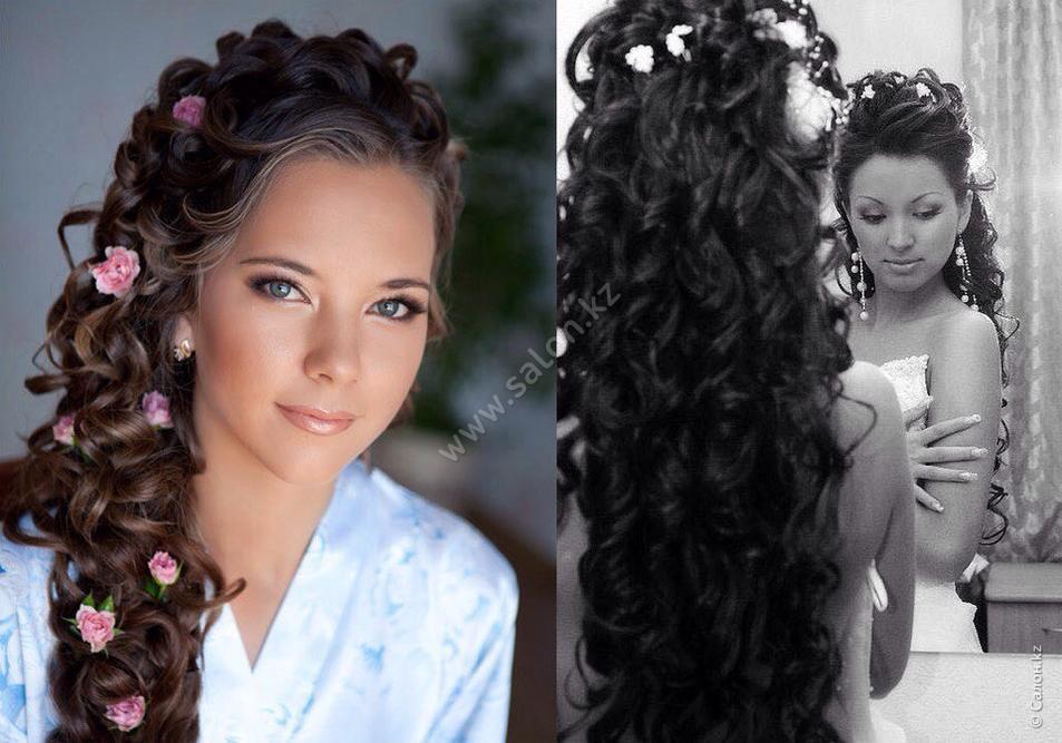 Прическа свидетельницы на свадьбу с длинными волосами